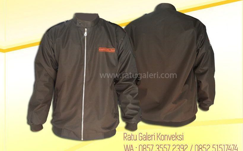 Hasil Produksi dan Desain Jaket Waterproof Bank Jatim Comply