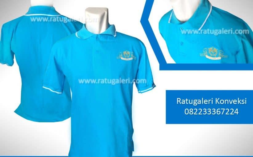 Hasil Produksi dan Desain Poloshirt Biru Polos