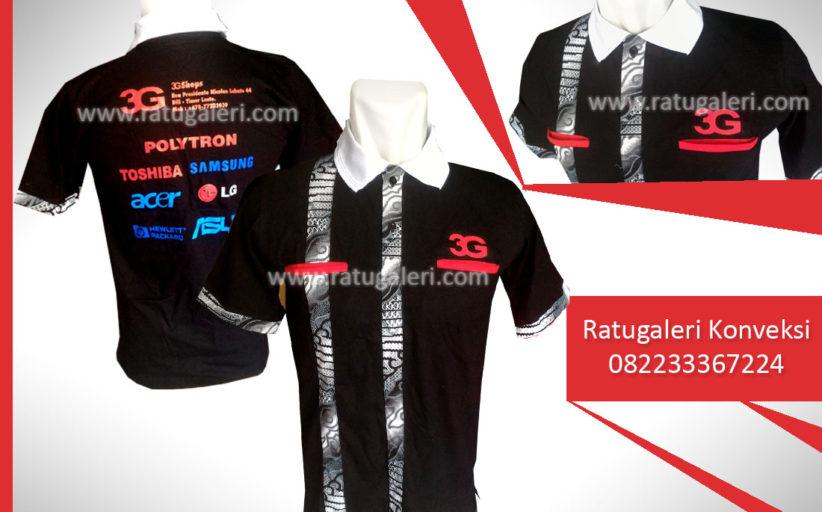 Hasil Produksi dan Desain Poloshirt Kombinasi Batik Hitam, 3G Morris Corporation.