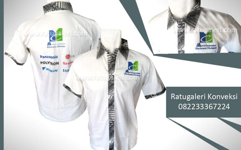 Hasil Produksi dan Desain Poloshirt Kombinasi Batik Putih, 3G Morris Corporation.