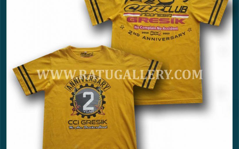 Hasil Produksi Kaos Oblong Anniversary CCI Gresik Dengan Bahan Combed 30's