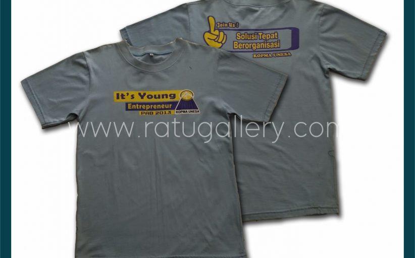 Hasil Produksi Kaos Oblong Young Entrepreneur Kopma UNESA Dengan Bahan Combed 30's