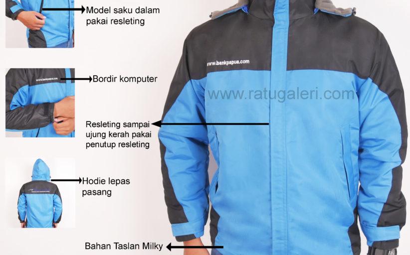 Hasil Produksi Dan Desain Jaket Taslan Milky Polar Bank Papua