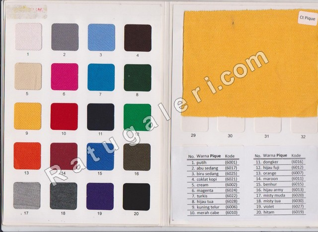 katalog warna kain lacoste pique untuk kaos