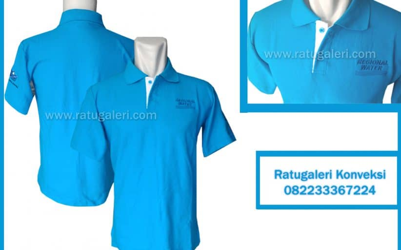 Hasil Produksi dan Desain Poloshirt Biru Muda, Regional Water.