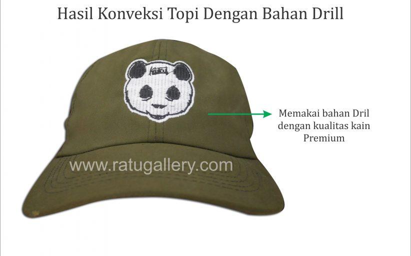 Hasil Produksi Topi Panda Bahan Drill